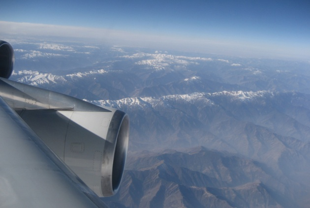 View from a jet crossing the Himalayas (photo by David Jones)