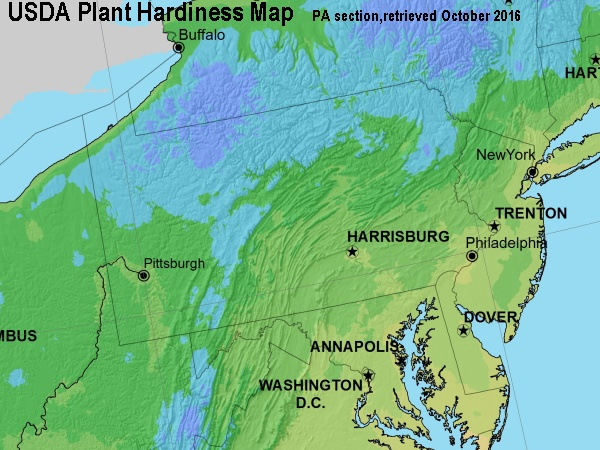 Pennsylvania within the USDA Plant Hardiness Map retrieved October 2016 (map from USDA)
