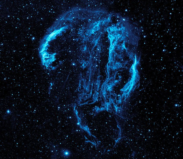 Cygnus Loop Nebula in UV light (photo from NASA via Wikimedia Commons)
