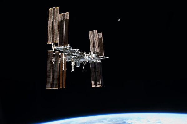International Space Station as seen from Space Shuttle Atlantis, 19 Jul 2011 (photo from NASA via Wikimedia Commons)
