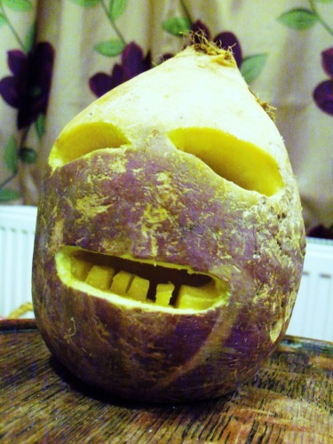 Cornish Jack-o-lantern carved in a turnip (photo from Wikimedia Commons)