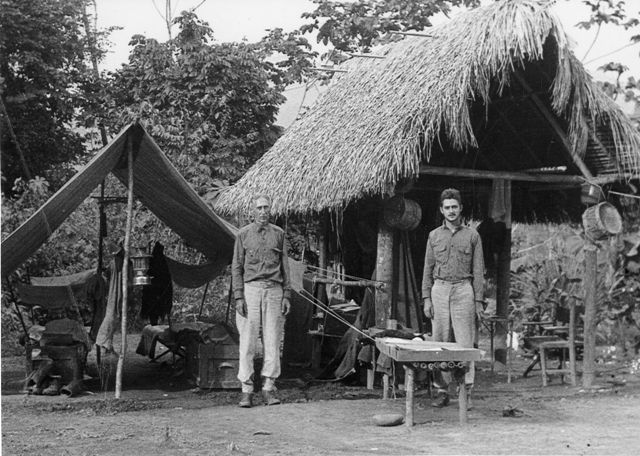 Meb Carriker and his son Mel collecting birds in the Beni River region of Bolivia, South America, 1934-1935 (photo linked from Smithsonian archives blog)