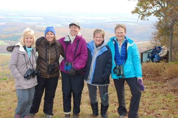 Karyn, Donna, me, Geralyn and Kathy, Allegheny Front Hawk Watch (photo courtesy Donna Foyle)