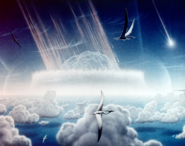 Artist's rendering of Chicxulub impact (painting by Donald E. Davis in public domain via Wikimedia Commons)