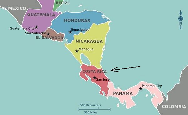 Map of Central America (image from Wikimedia Commons)