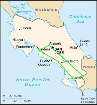 Road Scholar tour route in Costa Rica (image from Wikimedia Commons, altered to show route in green)