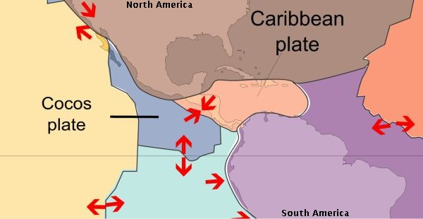 Plate tectonics near Costa Rica (image from Wikimedia Commons)