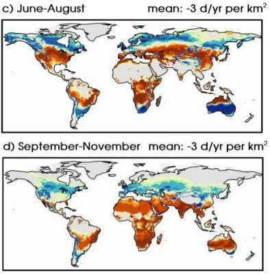 Changes in the number of mild weather days by season by 2090 (map from Van der Wiel/ NOAA/ Princeton)