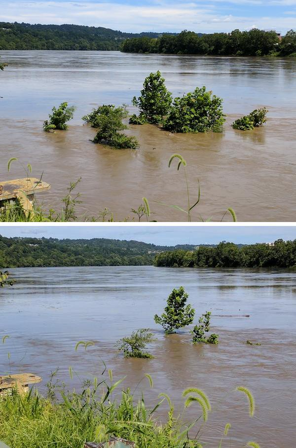 Two photos Monongahela River rising. Duck Hollow mudflat at 2:50p and 4:45p, July 29, 2017