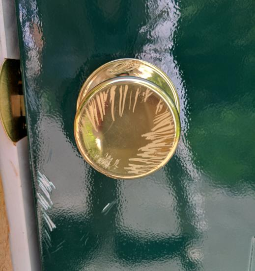 Tooth marks on the doorknob (photo by Kate St. John)