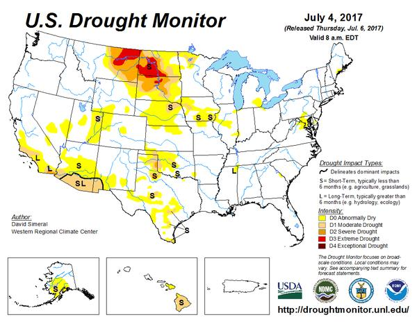 U.S. Drought Monitor map, 4 July 2017 (map from U.S. DroughtMonitor, UNL, USDA, NOAA)
