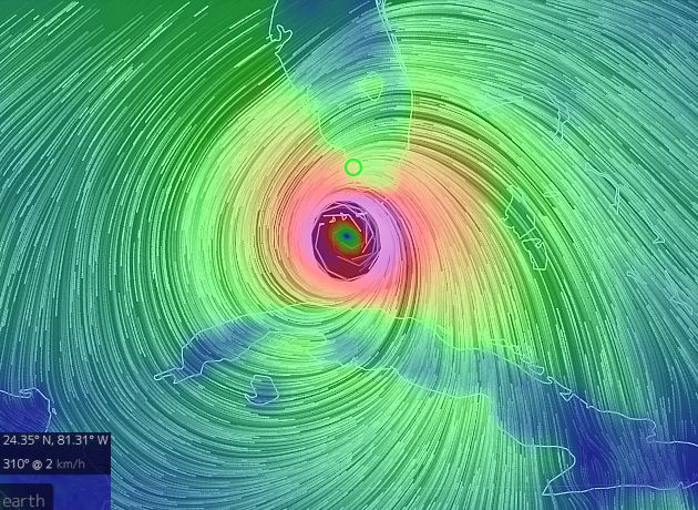 "Visualization of Hurricane Irma wind, 10 Sept 2017, 5am (screenshot from the ""earth"" wind map)"