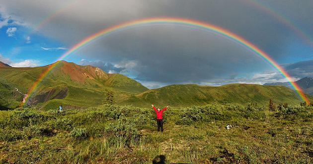 Double rainbow and supernumerary rainbows on the inside of the primary arc, Alaska (photo by Eric Rolph via Wikimedia Commons)