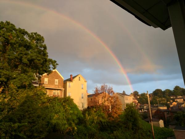 Double rainbow in my neighborhood at dusk, 14 Sept 2017 (photo by Kate St. John)