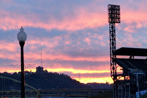 Sunset as seen from the Roberto Clemente Bridge,Pittsburgh, 21 October 2017 (photo by Kate St.John)