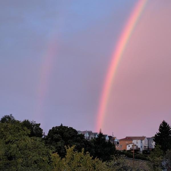 A double rainbow over Pittsburgh, 23 October 2017, 7:40am (photo by Kate St. John)