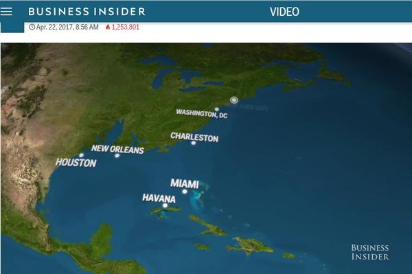 Screenshot: What Earth would look like if all the ice melted (from Business Insider)
