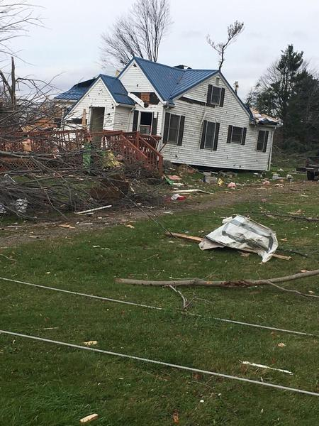 Damage in Williamsfield, Ohio from 5 Nov 2017 tornado (photo from National Weather Service, Cleveland)