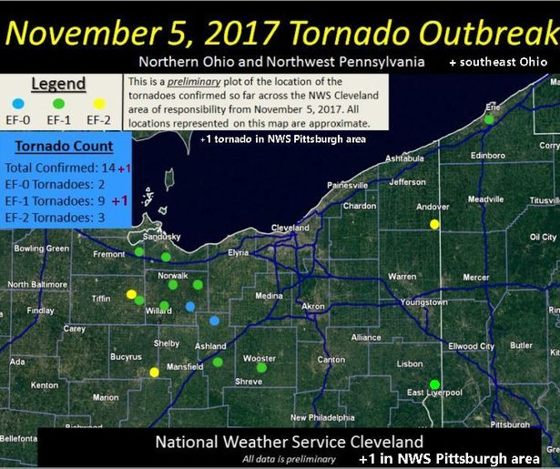 Map of Nov 5, 2017 Tornado Outbreak in Ohio and northwestern PA (map from National Weather Service Cleveland. Added 1 tornado reported in NWS Pittsburgh region in Columbiana County, Ohio)