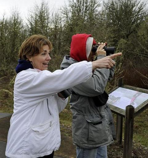 Bird watchers at the Refuge (photo by George Gentry/U.S. Fish and Wildlife Service)