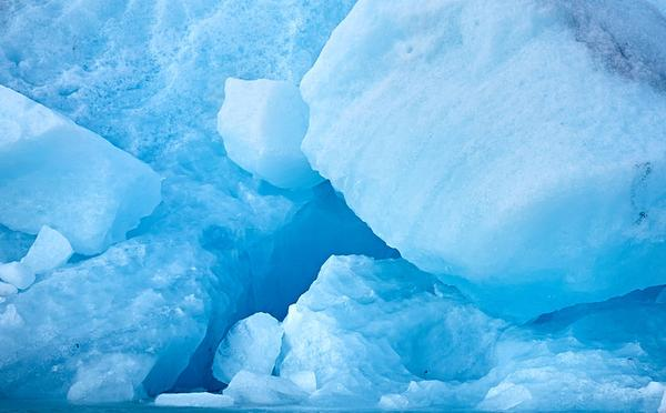Blue ice at a glacier in Iceland (photo from Wikimedia Commons)