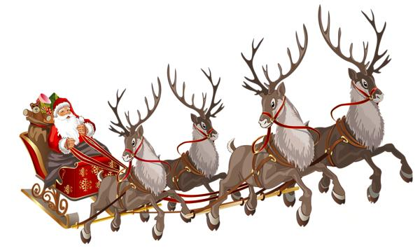 Santa, sleigh, and reindeer (image from Clipart Library)