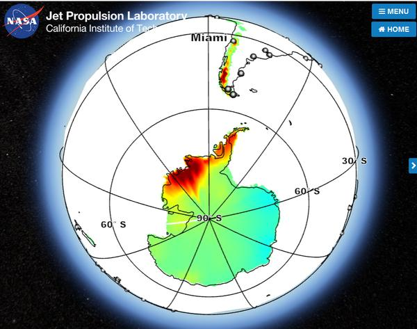 Map of Antarctic and South American glacial contribution to sea level rise in Miami (screenshot from NASA JPL)