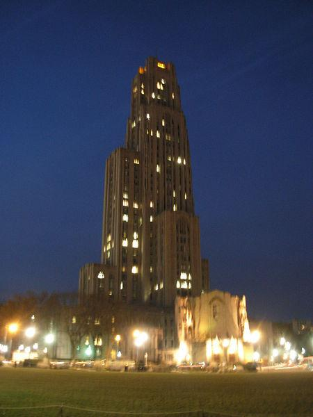 Cathedral of Learning at night, Dec 2007 (photo from Wikimedia Commons)