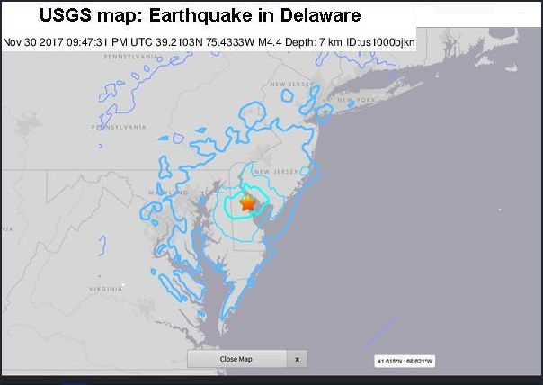 USGS map of 30 Nov 2017 earthquake centered at Bombay Hook, Delaware