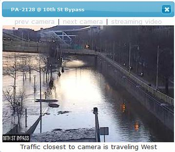 PennDOT traffic cam at the 10th Street Bypass, 17 Feb 2018, 7:20am
