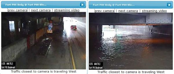 PennDOT traffic cam at The Bathtub: Feb 16 2018 (before the flood) and Feb 17 (after)
