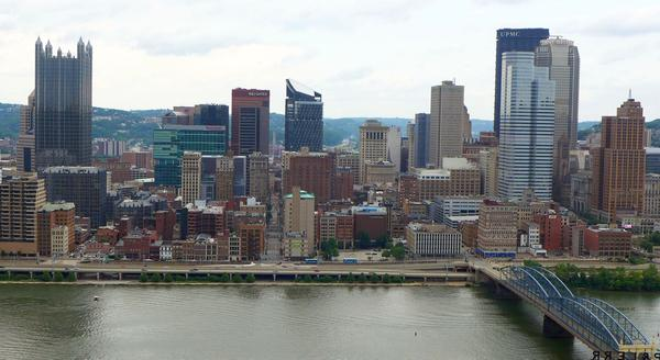 Downtown Pittsburgh as seen from Mt. Washington near the Monongahela Incline (photo by Kate St. John, June 2016)