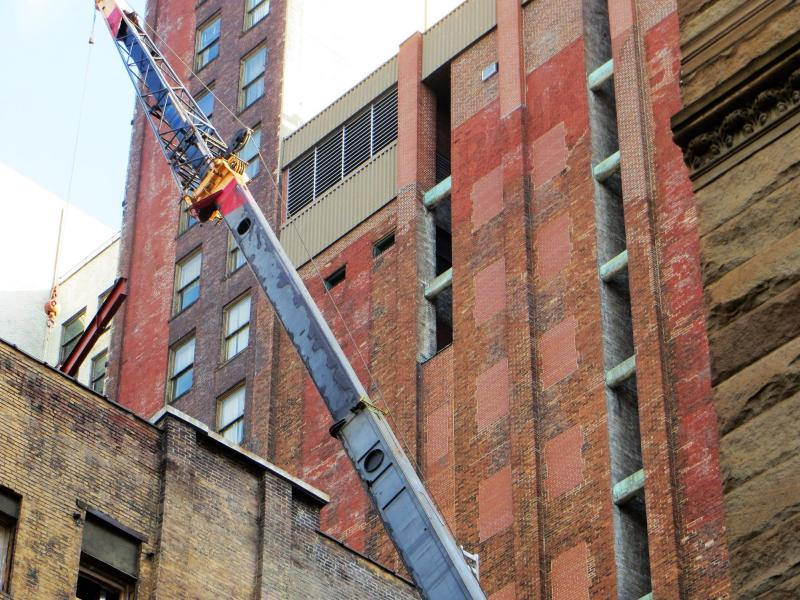 Construction near the peregrines' former nest site on Third Avenue (pohto by Doug Cunzolo)