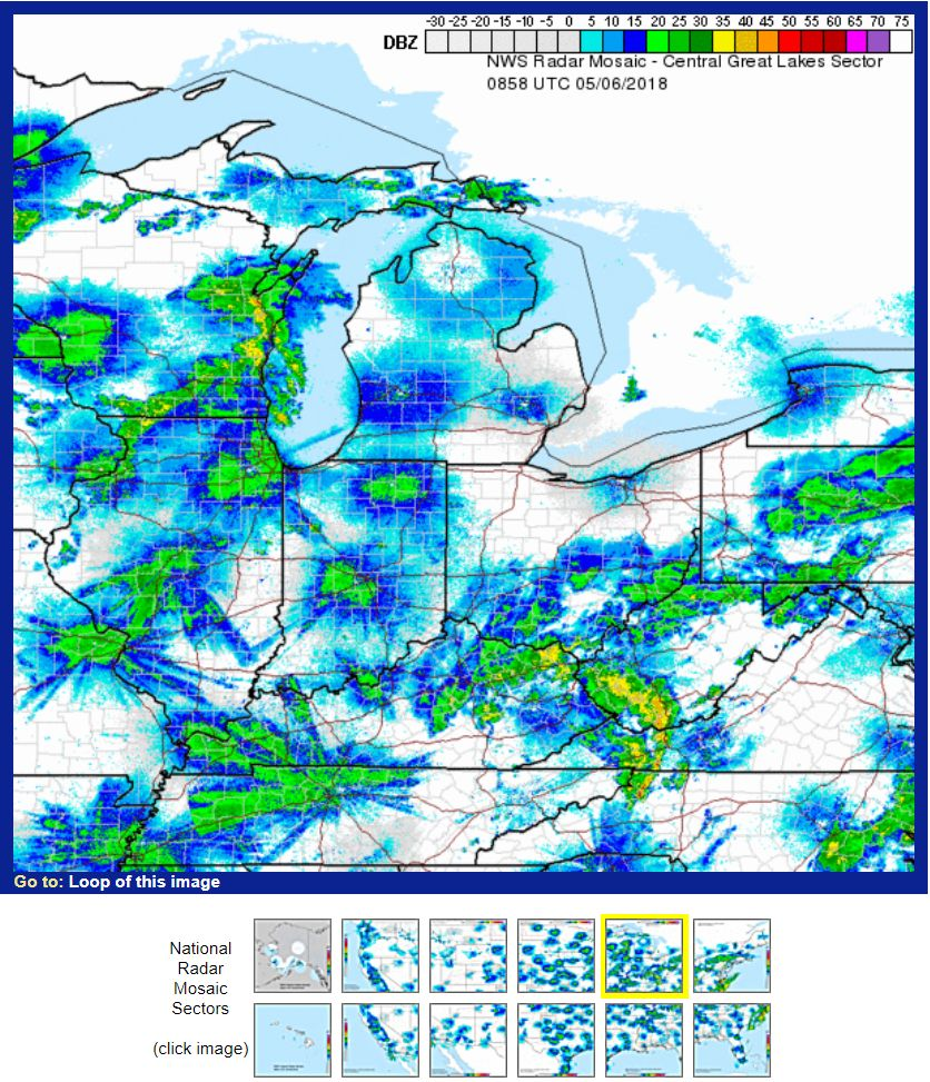 Central Great Lakes weather radar, 6 May 2018, 3:58 EDT (screenshot from weather.gov)