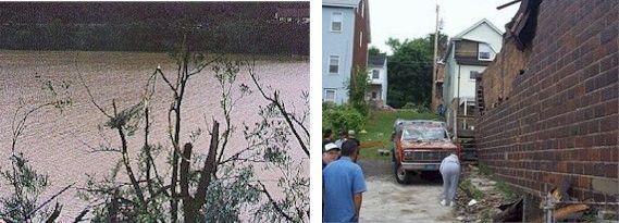 Damage from 2 June 1998 tornado on Mt. Washington, Pittsburgh, PA (photos from National Weather Service)