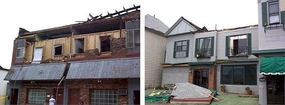 Damage from 2 June 1998 tornado on Mt. Washington, Pittsburgh, PA (photos from National Service)